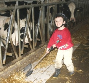 Seth loves helping in the barn.